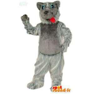 Mascotte de chien gris tout poilu - MASFR007591 - Mascottes de chien
