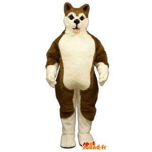 Ruskea ja valkoinen koira puku - MASFR007592 - koira Maskotteja