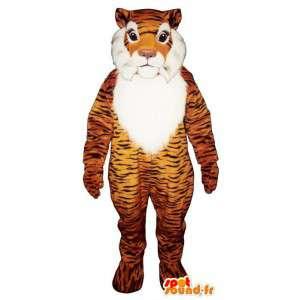 Tiger-Maskottchen orange schwarz und weiß - MASFR007609 - Tiger Maskottchen