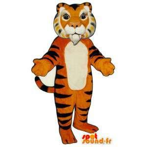 Tiger-Maskottchen orange schwarz und weiß - MASFR007618 - Tiger Maskottchen