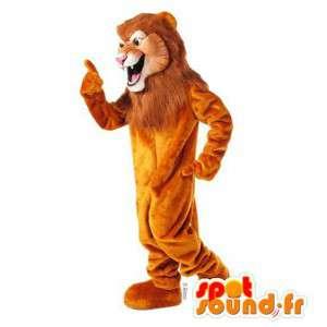 πορτοκαλί μασκότ λιοντάρι με μια μεγάλη χαίτη