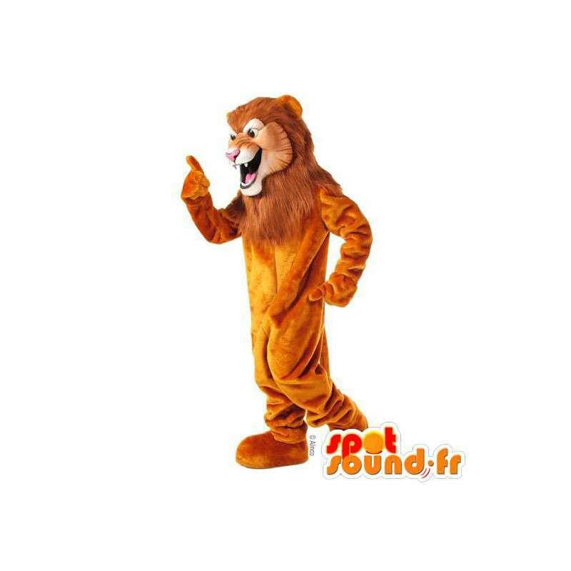Mascot Orange Löwe mit einer großen Mähne - MASFR007624 - Löwen-Maskottchen