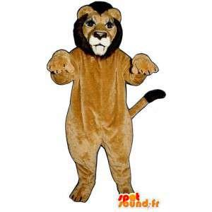 La mascota del león de color beige y marrón