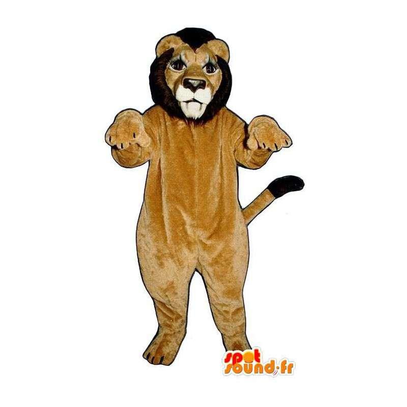 Löwe-Maskottchen-beige und braun - MASFR007630 - Löwen-Maskottchen