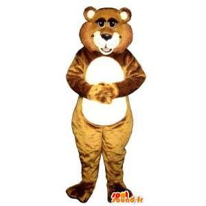 Mascotte de castor marron et blanc