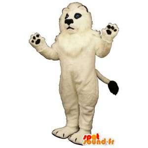 Bianco leone mascotte molto peloso