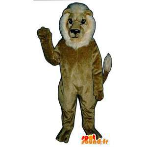 Lion Mascot beige and white - MASFR007636 - Lion mascots
