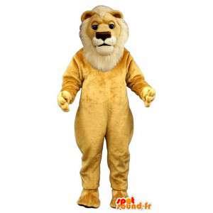 Mascot yellow and white lion - MASFR007642 - Lion mascots