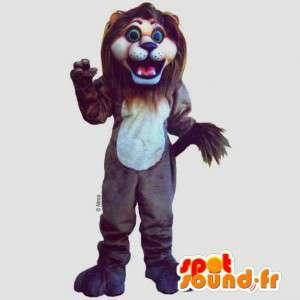 καφέ λιοντάρι μασκότ - βελούδινα μεγέθη