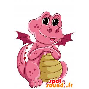 Mascotte de dragon rose et jaune, mignon et amusant - MASFR030690 - Mascottes 2D/3D