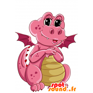Rosa e giallo drago mascotte, carino e divertente - MASFR030690 - Mascotte 2D / 3D