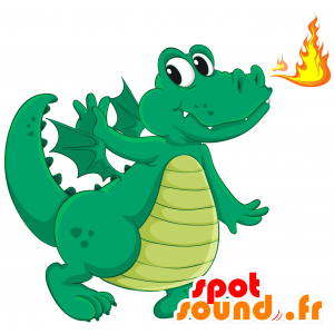 Green and yellow dragon mascot with wings - MASFR030691 - 2D / 3D mascots
