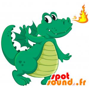 Mascotte drago verde e giallo con le ali - MASFR030691 - Mascotte 2D / 3D