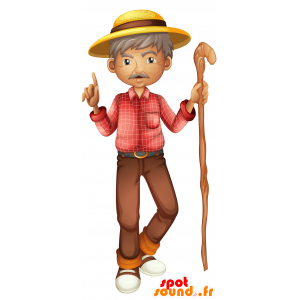 Mascot old mustachioed man. Mascot walker - MASFR030692 - 2D / 3D mascots