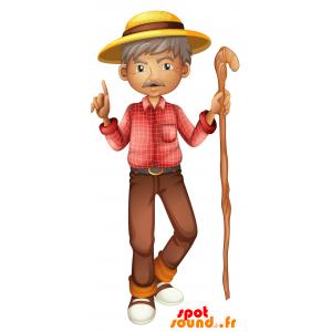 Maskot starého muže s knírem. maskot chodítko - MASFR030692 - 2D / 3D Maskoti