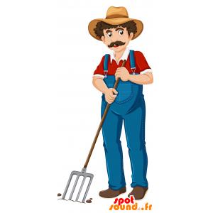 Mascotte de fermier moustachu, avec une salopette - MASFR030693 - Mascottes 2D/3D