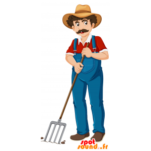Maskotti mustachioed maanviljelijä haalarit - MASFR030693 - Mascottes 2D/3D