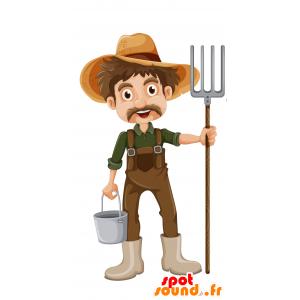 Mascotte de fermier moustachu, avec une salopette - MASFR030694 - Mascottes 2D/3D