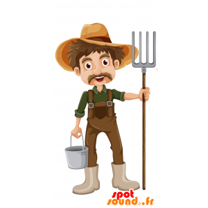 Mascot knírem zemědělec s montérky - MASFR030694 - 2D / 3D Maskoti