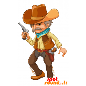Cowboy mascot mustache in traditional dress - MASFR030695 - 2D / 3D mascots