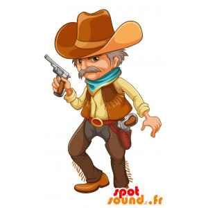 Mascotte de cow-boy moustachu en tenue traditionnelle - MASFR030695 - Mascottes 2D/3D