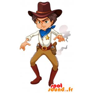 Mascotte de cow-boy, de jeune homme du Far West - MASFR030696 - Mascottes 2D/3D