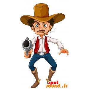 Bandit mascotte, l'uomo baffuto con aria cattiva - MASFR030697 - Mascotte 2D / 3D