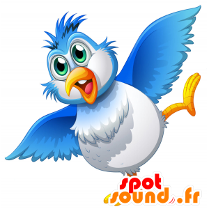 Mascot blue and white bird, plump and fun - MASFR030698 - 2D / 3D mascots