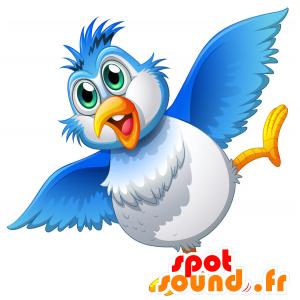 Mascotte d'oiseau bleu et blanc, dodu et amusant - MASFR030698 - Mascottes 2D/3D