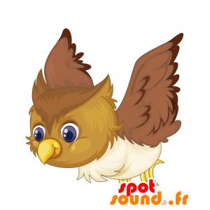 Mascotte uccello marrone, beige e bianco - MASFR030699 - Mascotte 2D / 3D