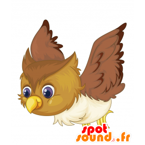 Mascot lintu ruskea, beige ja valkoinen - MASFR030699 - Mascottes 2D/3D