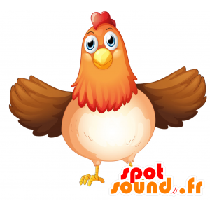 Chicken mascot plump, brown, red and white - MASFR030700 - 2D / 3D mascots