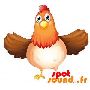 Mascotte de poule dodue, marron, rouge et blanche - MASFR030700 - Mascottes 2D/3D