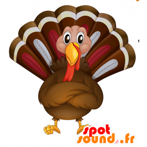 Brown peacock mascot, red and white, very realistic - MASFR030701 - 2D / 3D mascots