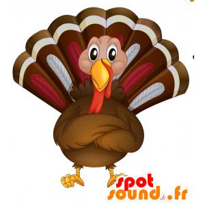 Mascotte de paon marron, rouge et blanc, très réaliste - MASFR030701 - Mascottes 2D/3D