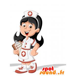 Bruna infermiera mascotte, con una camicetta - MASFR030705 - Mascotte 2D / 3D