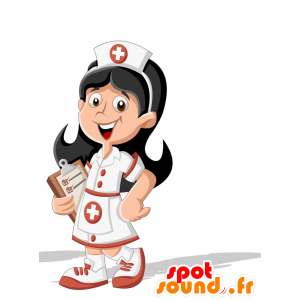 Maskotka brunetka pielęgniarka z bluzką - MASFR030705 - 2D / 3D Maskotki