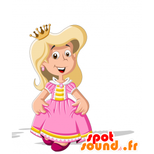 Mascotte de princesse, habillée en rose et jaune - MASFR030707 - Mascottes 2D/3D