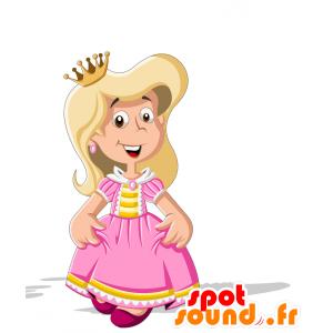 Księżniczka maskotka ubrana w różowy i żółty - MASFR030707 - 2D / 3D Maskotki