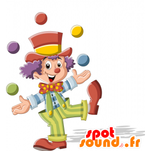 Mascotte pagliaccio, molto colorato. circo mascotte - MASFR030708 - Mascotte 2D / 3D
