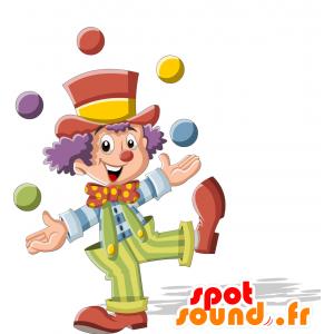 Klaun maskot, velmi pestré. Circus Maskot - MASFR030708 - 2D / 3D Maskoti