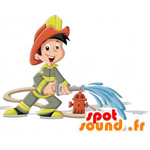 Mascotte de pompier en uniforme vert et jaune - MASFR030709 - Mascottes 2D/3D
