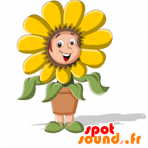 Mascot child dressed in bloom. Flower mascot - MASFR030710 - 2D / 3D mascots