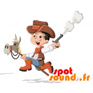 Mascotte d'enfant déguisé en cow-boy - MASFR030711 - Mascottes 2D/3D