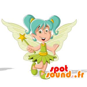 Fairy mascot, with wings and blue hair - MASFR030712 - 2D / 3D mascots