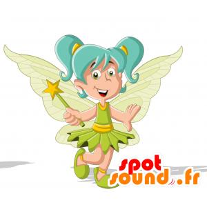 Mascotte de fée, avec des ailes et les cheveux bleus - MASFR030712 - Mascottes 2D/3D