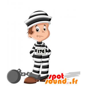 Mascot prisoner, inmate, in black and white dress - MASFR030713 - 2D / 3D mascots