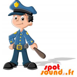 Mascotte de policier en uniforme bleu. Mascotte de gendarme - MASFR030714 - Mascottes 2D/3D