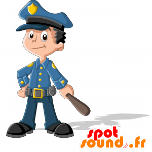 Blue-uniformert politimann maskot. Constable Mascot - MASFR030714 - 2D / 3D Mascots