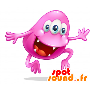 Mascot pink monster with a big mouth - MASFR030719 - 2D / 3D mascots